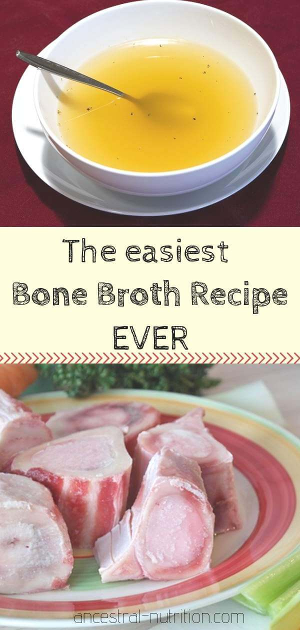 The easiest Bone Broth recipe EVER! Ditch the powder and learn how to make the best homemade bone broth at home as a drink or base for a soup #bonebroth, #cleaneating