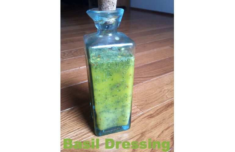 Fresh Basil Dressing in a glass bottle