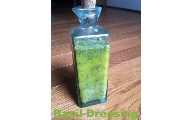 Fresh Basil Dressing in a glass bottle