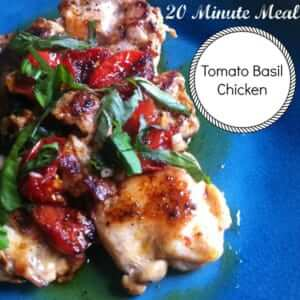 Paleo Tomato Basil Chicken! It's ready in under twenty minutes and is an easy, healthy dinner or lunch!