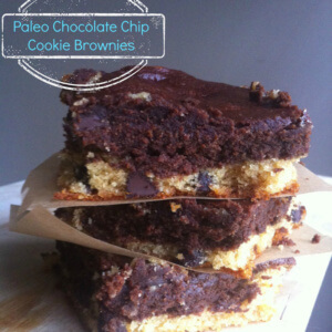 Paleo Chocolate Chip Cookie Brownies - BROOKIES! The best dessert! So gooey and yummy!