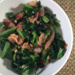 spicy mixed greens with bacon