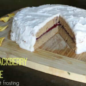 Almond Blackberry Cake with Coconut Frosting