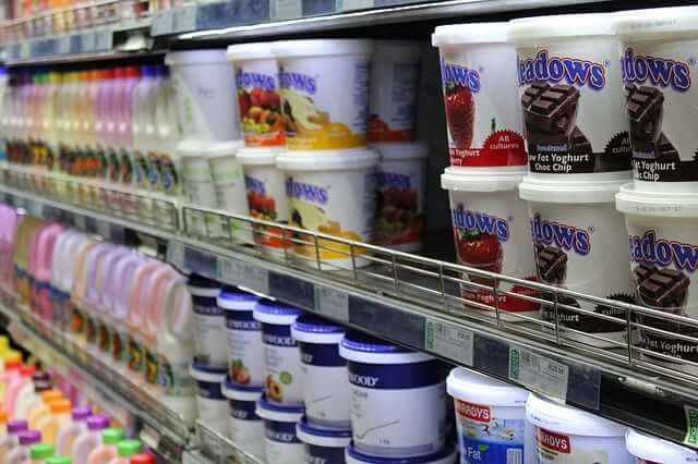 low-fat yogurts in a grocery store