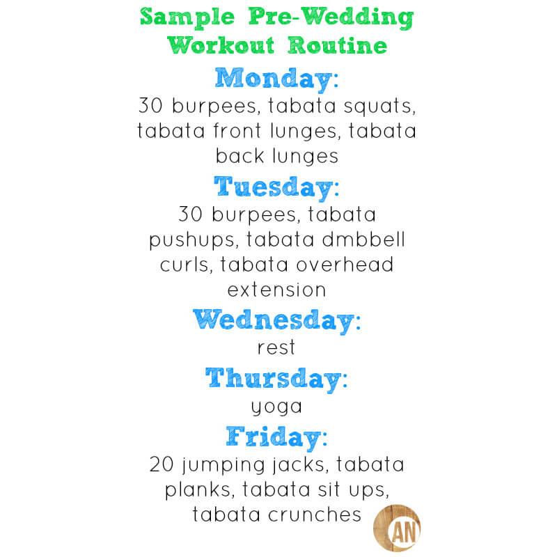 Exercise routine for wedding