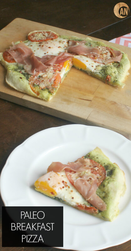 Paleo Breakfast Pizza - this gluten-free crust recipe is also great for lunch and dinner! Check out the recipe and make a healthy breakfast that kids AND adults will love!