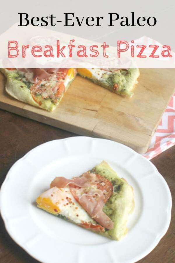 Paleo Breakfast Pizza - the best gluten-free paleo pizza crust made with Tapioca Flour and olive oil, then topped with pesto, prosciutto, and eggs! #glutenfree, #paleo