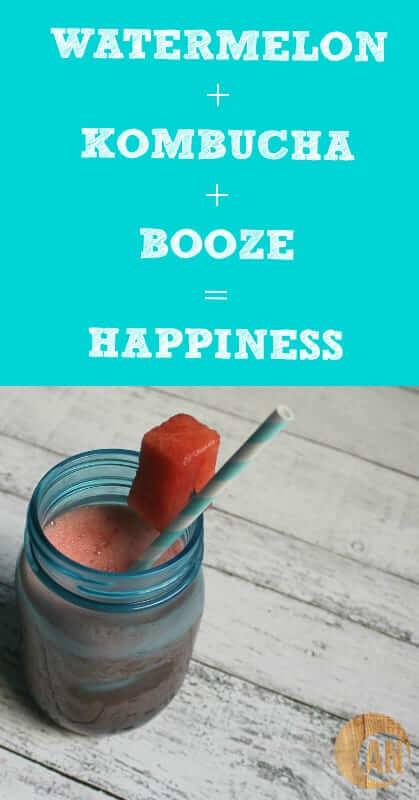 Healthy Watermelon Kombucha Cocktail #cocktails #healthyrecipes