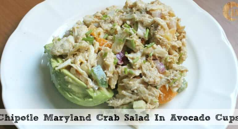 Need a quick and easy lunch or dinner idea? Try this paleo chipotle crab salad in avocado cups! The best spicy, creamy, delicious crab salad you'll ever make.