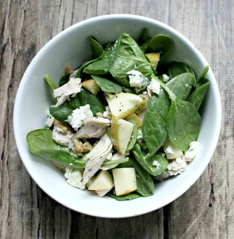 Spinach Apple Blue Cheese Turkey Salad
