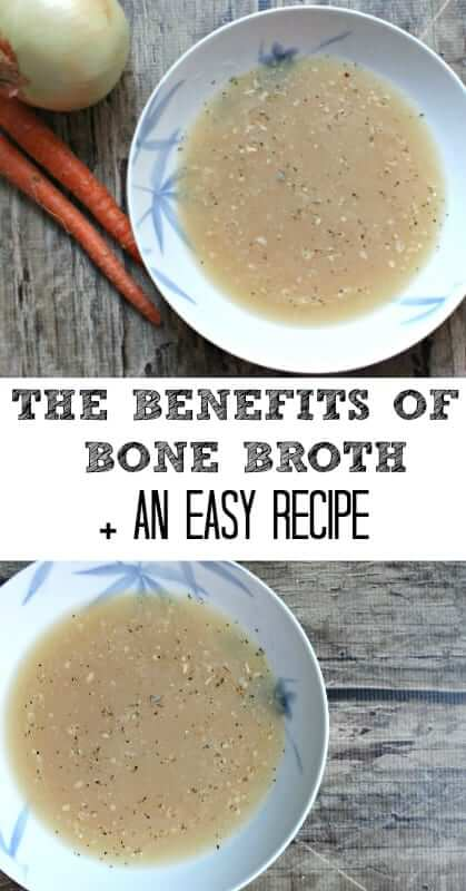 The Benefit of Bone Broth + easy bone broth recipe! Making bone broth from scratch at home is easy and cheap and you can use it as a base for all your soups and stews! I will show you how! #bonebroth #paleo