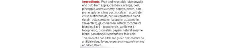 ingredients for juice plus supplements