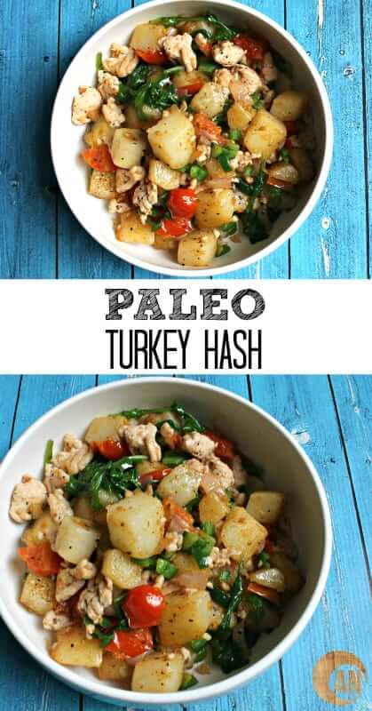 Paleo Turkey Hash - a healthy, gluten-free, egg-free breakfast that's easy to make and seriously delicious! Check out the recipe to find out how to make a tasty breakfast that will fuel you for hours! #paleo, #breakfastrecipes