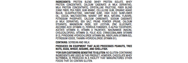 ingredient list for usana chocolate nutrimeal