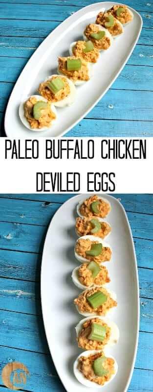 Paleo Buffalo Chicken Deviled Eggs #brunch #breakfast