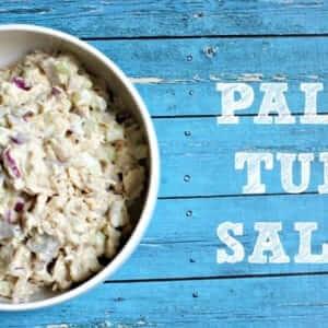 Paleo Tuna Salad in a white bowl