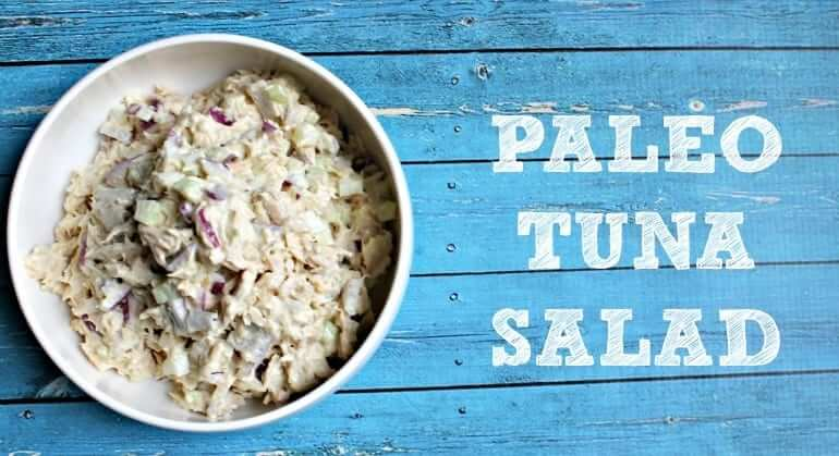 Paleo Tuna Salad in a white bowl