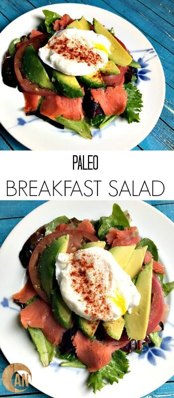 This Paleo Breakfast Salad is a great way to change up how you eat eggs for breakfast! It's really easy to throw together, but it seems kind of fancy. #paleo, #breakfast