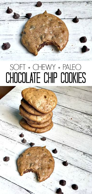 Oh my! These soft & chewy Paleo chocolate chip cookies are amazing!! My husband ate almost all of them in 2 days!