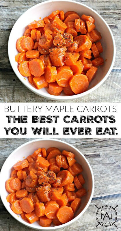 Buttery Maple Carrots are an easy to make, healthy paleo side dish or snack. Also the best carrots you will ever eat! Make them as a simple side for a Sunday roast or Thanksgiving Turkey! #paleo, #side