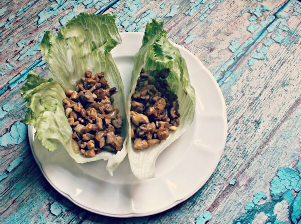 Paleo Chicken Lettuce Wraps on a white plate