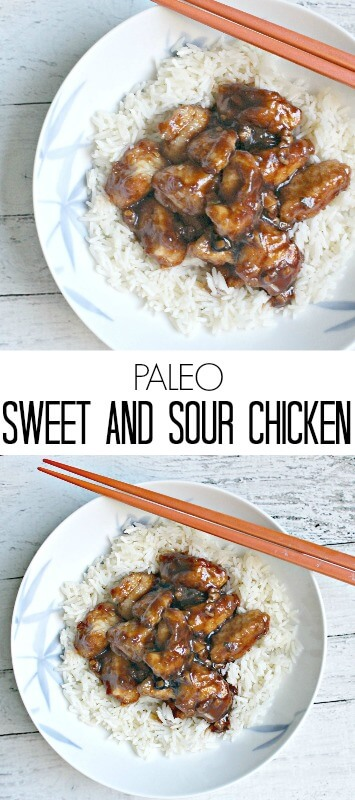 Paleo Sweet and Sour Chicken- an easy, healthy homemade Chinese dinner that's gluten-free! #paleo, #chickendinner