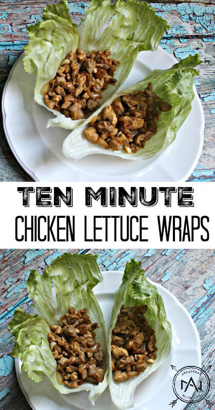 Ten Minute Chicken Lettuce Wraps - this is such an easy gluten-free and paleo recipe that's perfect for lunch or dinner!