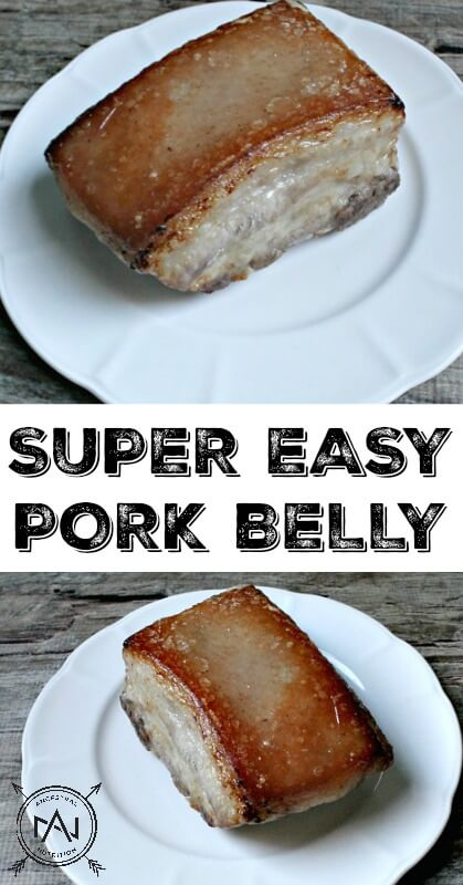 Super Easy Pork Belly | I know that there are a ton of recipes out there for baked pork belly. Most involve spices, scoring, starting at one temperature, changing to another etc... I like to keep my cooking as simple as possible and trust me, this easy garlic-rubbed paleo pork belly is DELICIOUS! #paleo, #pork