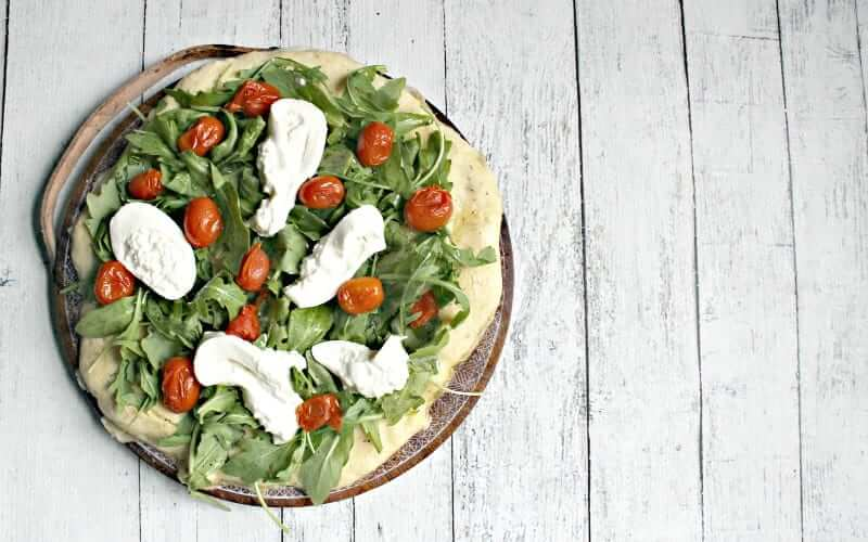 Arugula, Tomato & Burrata on Paleo Pizza Crust - Ancestral Nutrition