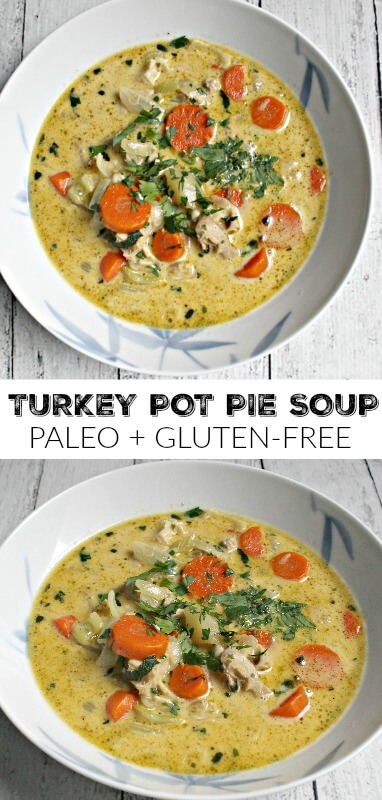 Turkey Pot Pie Soup - great for Thanksgiving leftovers! Easy lunch or dinner recipe! Paleo and gluten-free!