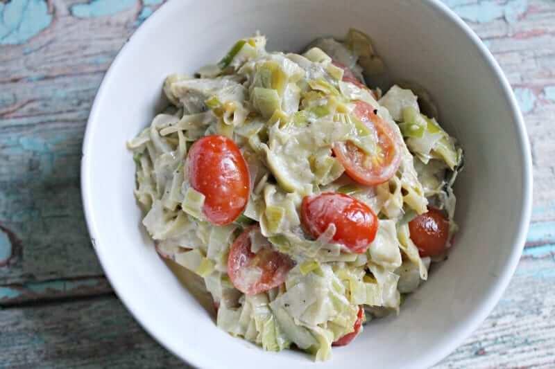 Creamy Artichoke, Leek and Tomato Side Dish