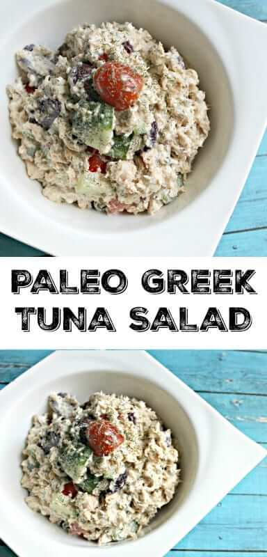 Paleo Greek Tuna Salad - this is great to make in bulk for lunches throughout the week or just as a quick and healthy dinner! #paleorecipes, #tunasalad