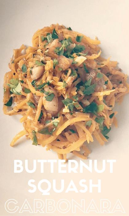 5 ingredients is all you need to make this healthy Butternut Squash Carbonara recipe! Butternut squash is a wonderful substitution for pasta - you won't miss the wheat at all! #cleaneating, #carbonara