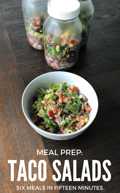 These Taco Salads are amazeballs and perfect for healthy lunch meal prep! You've got protein from the beef, fat from the olive oil, some delicious carbs from the brown rice, black beans and corn and lots of veggies and flavor too. Mixed together, it's just SO good. #mealprep, #easyrecipes