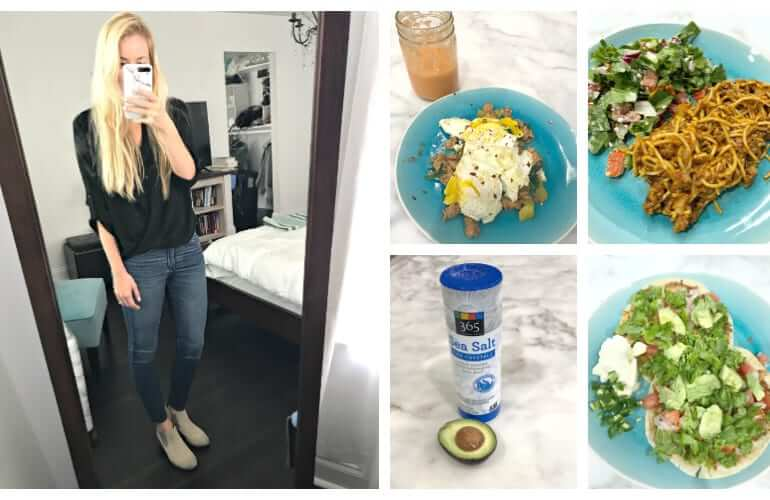 collage of five pictures, including a woman taking a mirror selfie, a breakfast hash with an orange smoothie, two tacos, and lentil spaghetti with salad, all on blue plates, and a bottle of a 365 sea salt with a halved avocado with pit