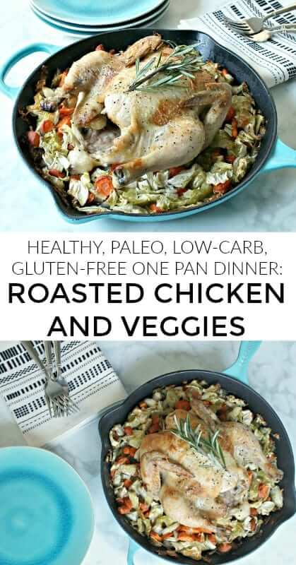 Making this roasted chicken and veggies bake on Sundays has become a tradition in my house. It's a simple low carb and paleo chicken dinner I make every Sunday to prepare healthy meals for the workweek - a great way to meal prep quickly and easily! #chickendinner, #paleo