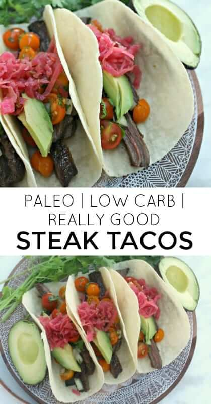 These Paleo Steak Taco are THE BOMB! They're grain-free, gluten-free, paleo and low carb. So much better than anything you get at Taco Bell! A healthy and easy dinner that will be on the table in under 20 minutes! #paleo, #tacos