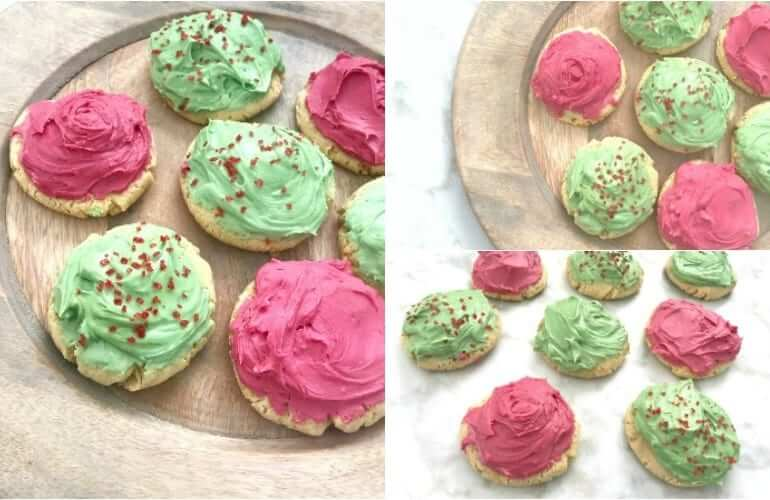 collage of three pictures of seven frosted cookies on a plate, with one picture portraying them on a white marble counter