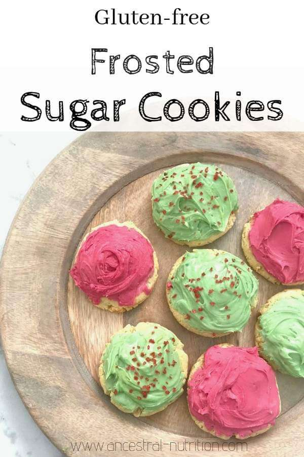 Gluten-free Frosted Sugar Cookies - these taste like a decadent holiday treat except they're gluten-free, dairy-free and sweetened with honey. #christmascookies, #glutenfree