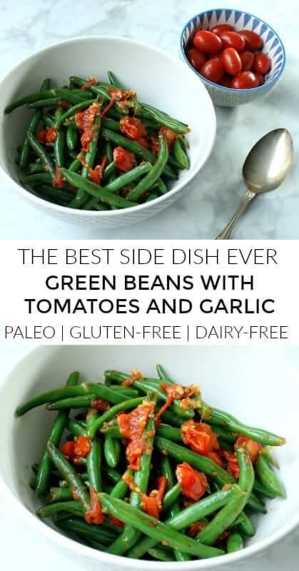These green beans with garlic and tomatoes are a healthy side dish that's seriously delicious. The three just pair so perfectly together and cooking them in garlic ghee makes them even better. Yes, GARLIC GHEE. It's so insanely good. #paleo, #lowcarb