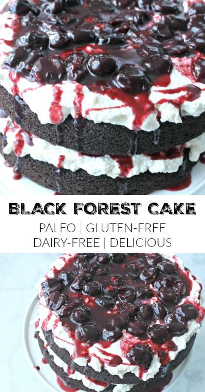 This paleo black forest cake would be a great dessert for Valentine's Day dinner or Mother's Day. Extremely moist, decadent and delicious and really easy to make. Trust me, I'm horrible at baking.#paleo, #dessert