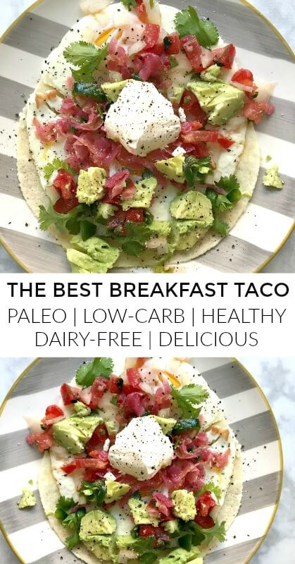 I am deeply in love with this paleo breakfast taco. It's low-carb, healthy, gluten-free and DELICIOUS. It's easy to throw together in the AM, it's full of fiber, protein, probiotics healthy fats.#paleo, #breakfast