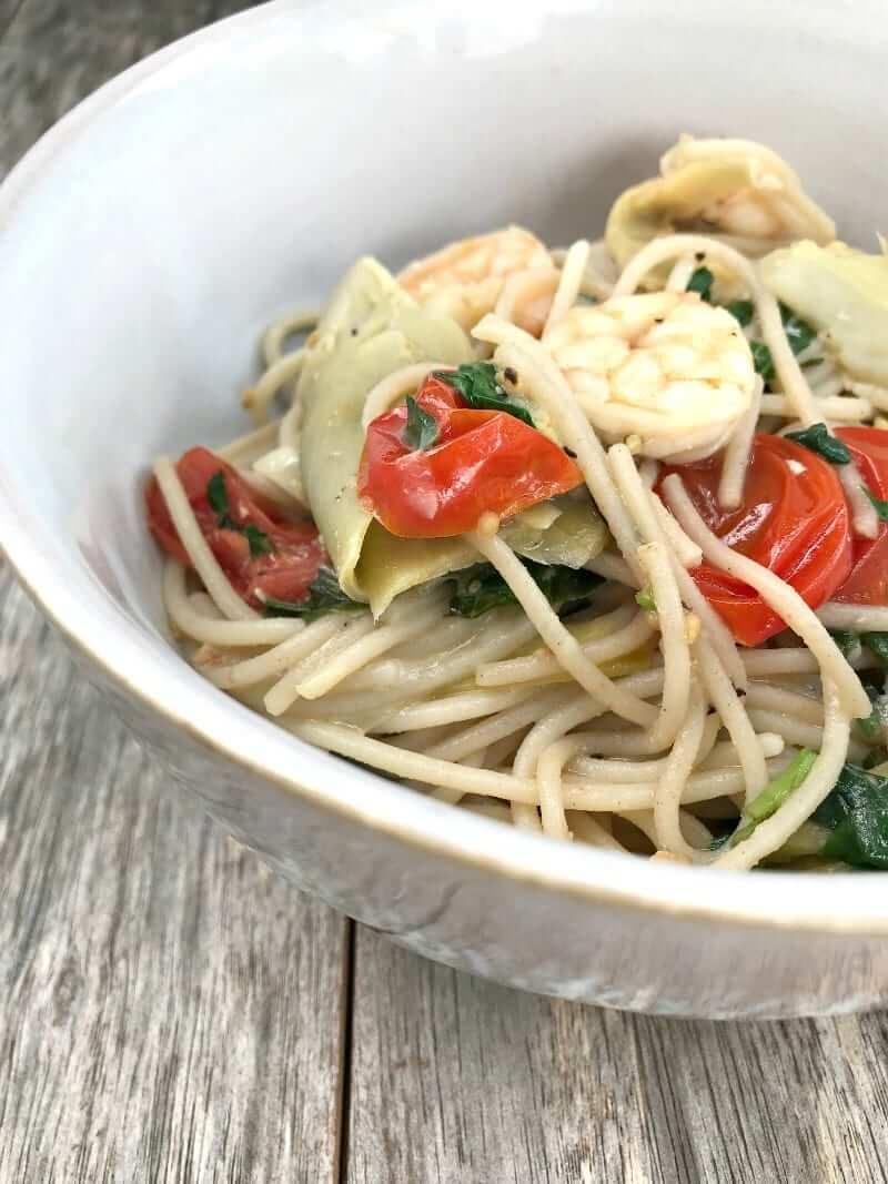 Gluten-Free Shrimp, Artichoke, Spinach & Tomato Pasta