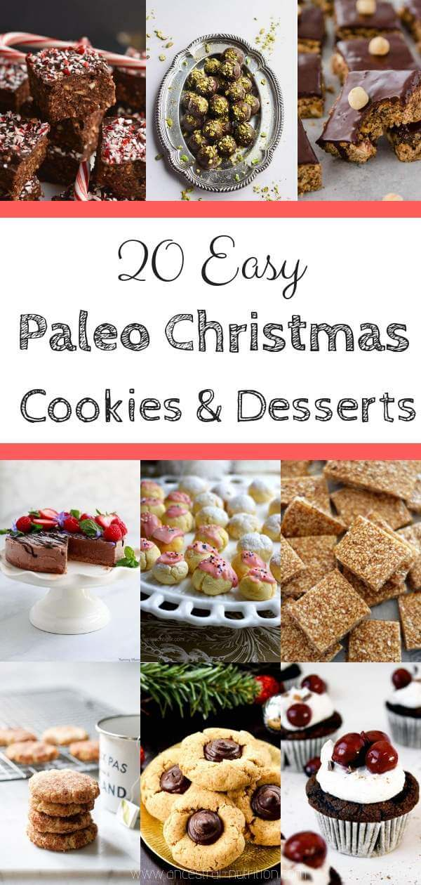 20 Paleo Christmas Cookies and Desserts - Looking for easy Gluten-free & Paleo Christmas recipes for the holiday season? Here are 20 of the best easy recipes - vegan, gluten-free, grain-gree and low carb #christmascookies, #paleo