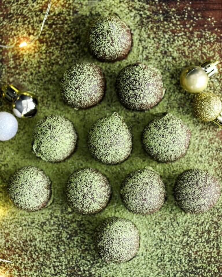 Vegan Matcha Truffles arranged as a Christmas tree