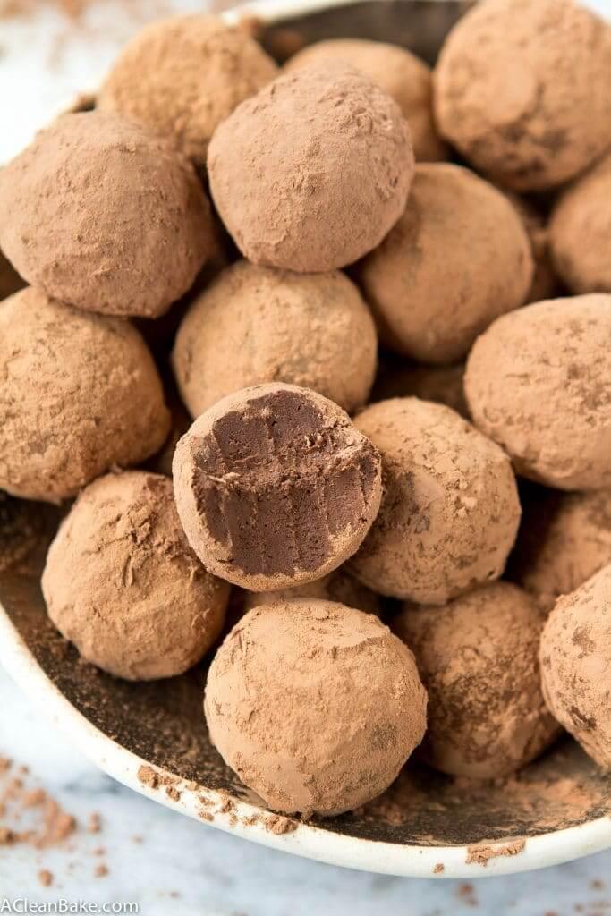 Paleo Dark Chocolate Truffles in a small bowl