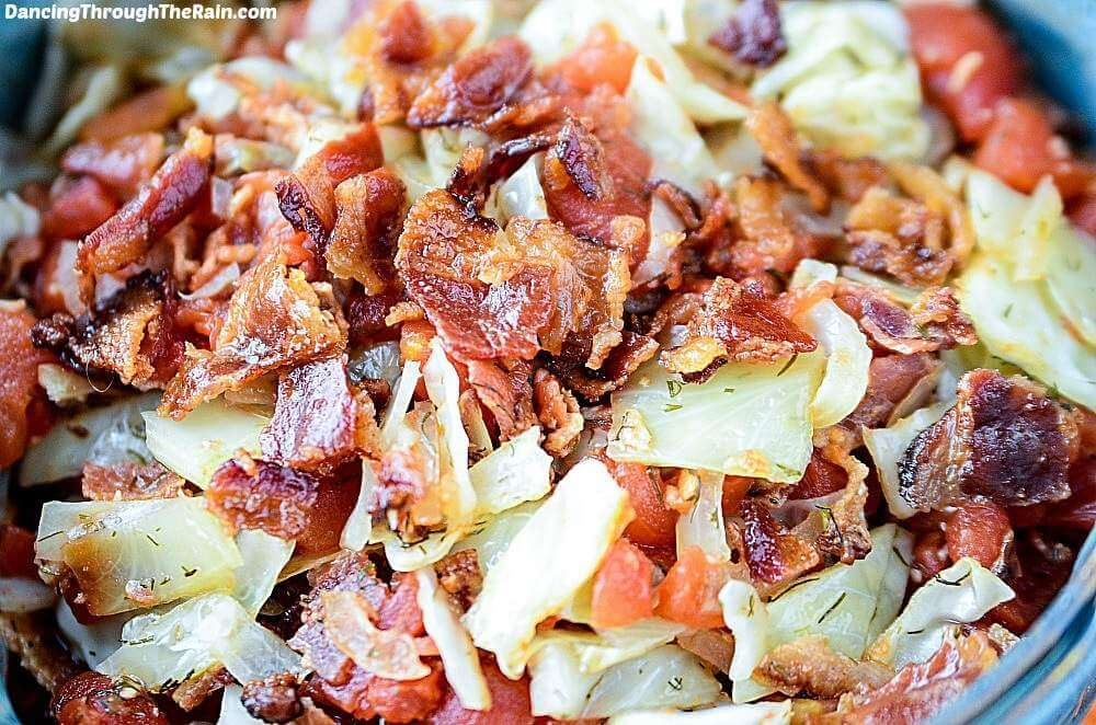 Paleo Tomato Bacon Cabbage Saute - close-up