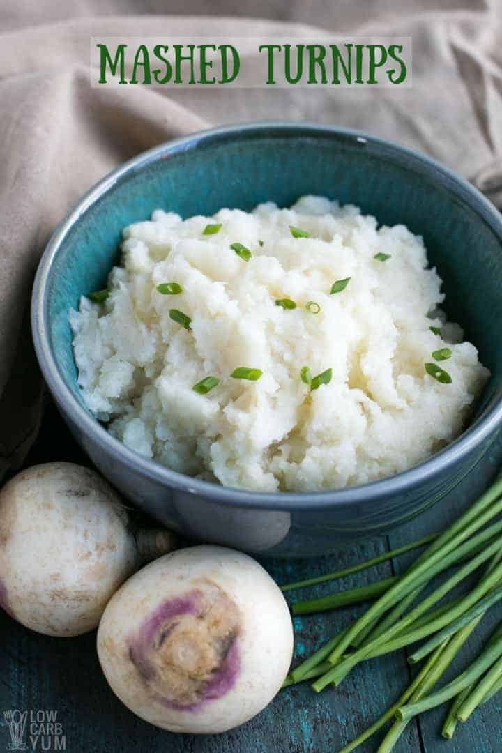 Mashed Turnips sprinkled with chopped chives in a blue bowl
