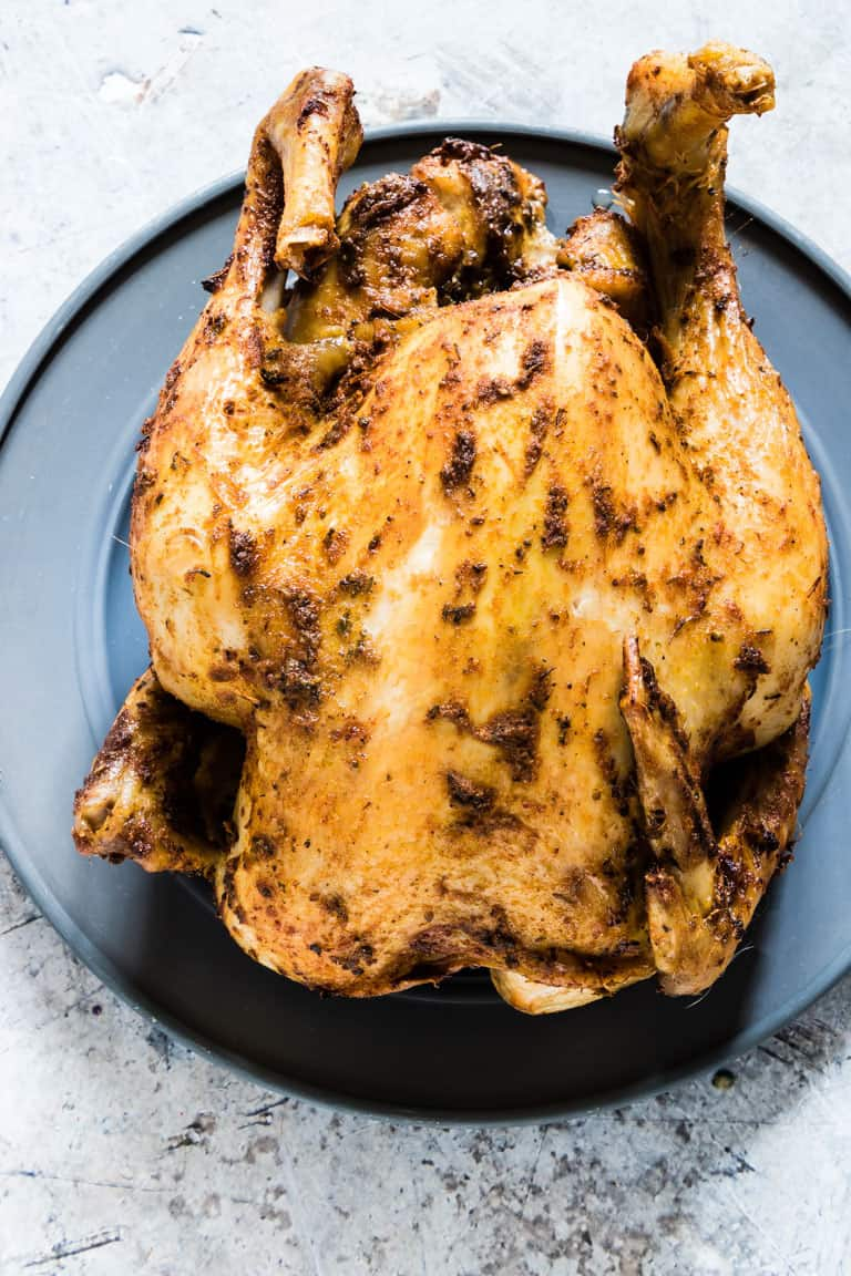 Slow Cooker Whole Roasted Chicken - overhead shot