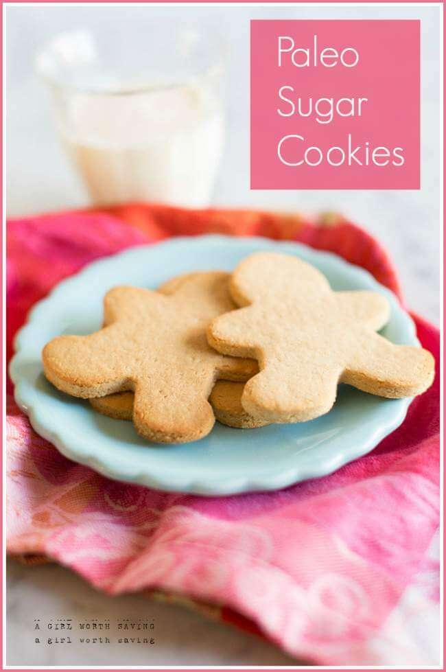 2 paleo sugar cookies on a blue plate
